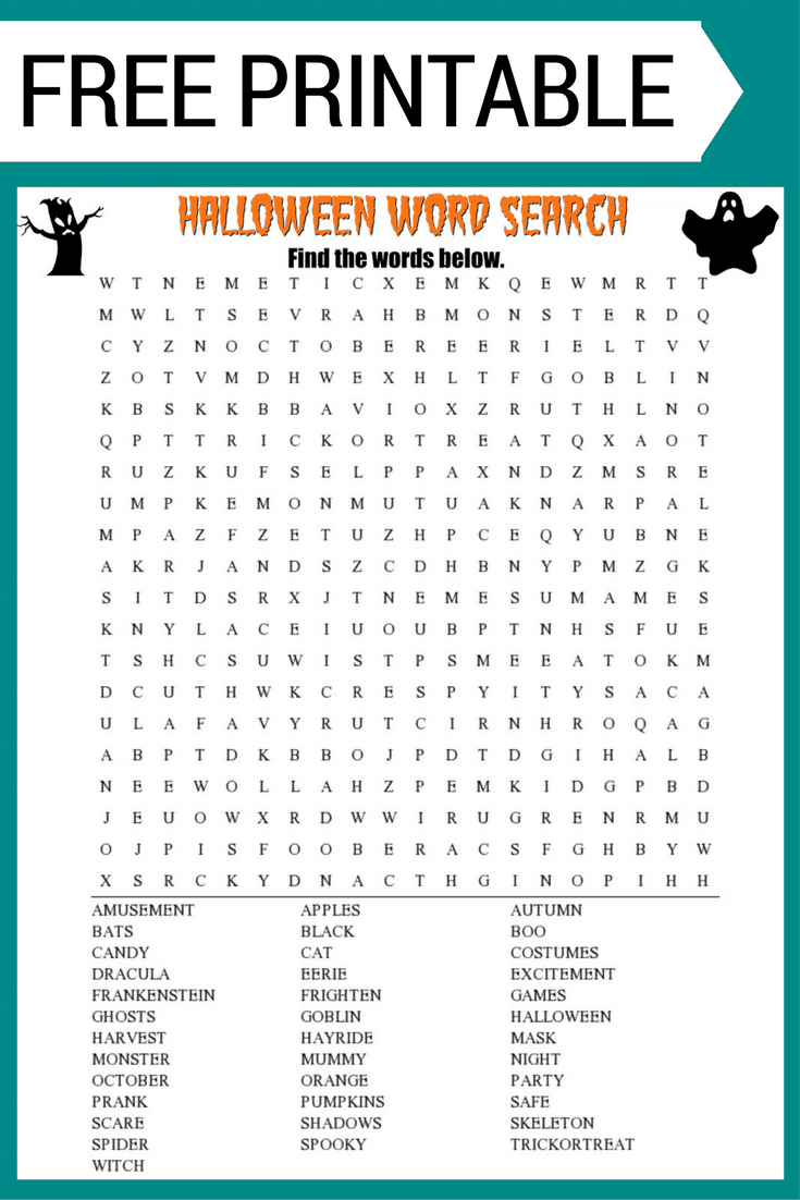 Halloween Word Search Printable Worksheet - Free Search A Word Printable