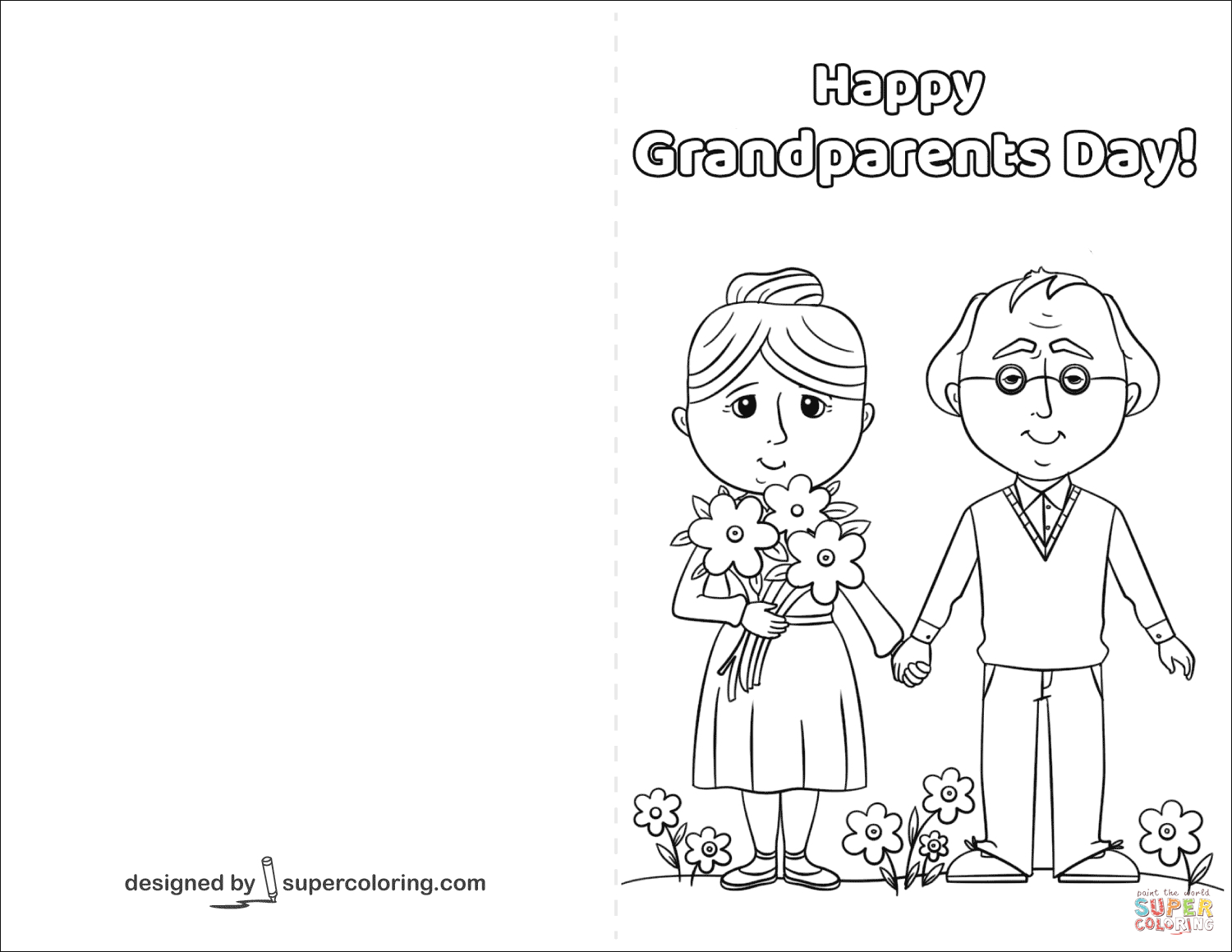 Happy Grandparents Day Card Coloring Page   Free Printable Coloring - Grandparents Day Cards Printable Free