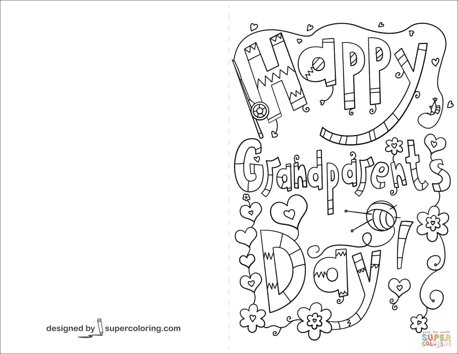 Happy Grandparents Day Doodle Card Coloring Page   Free Printable - Grandparents Day Cards Printable Free