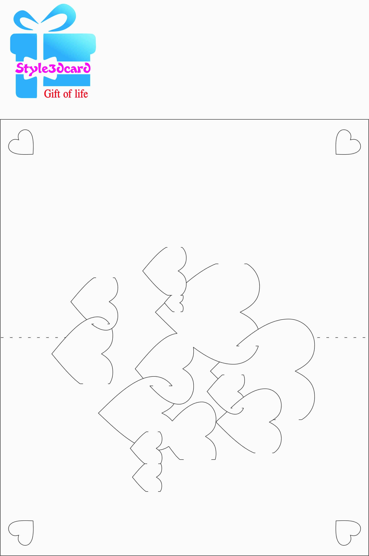 Heart - 3D Pop-Up Card Pattern/sample/template | Kirigami | Kaart - Free Printable Kirigami Pop Up Card Patterns