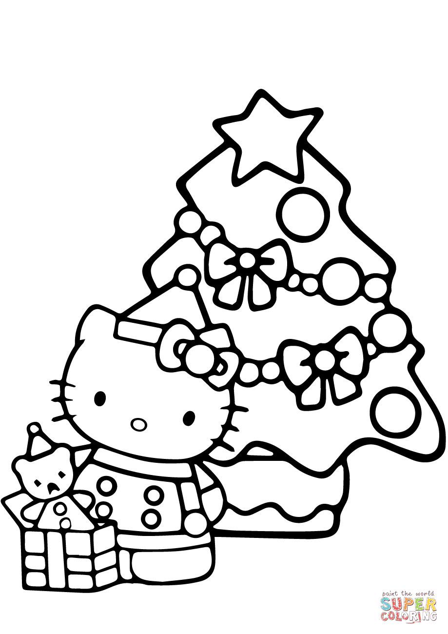 Hello Kitty Christmas Coloring Page | Free Printable Coloring Pages - Free Printable Christmas Cartoon Coloring Pages