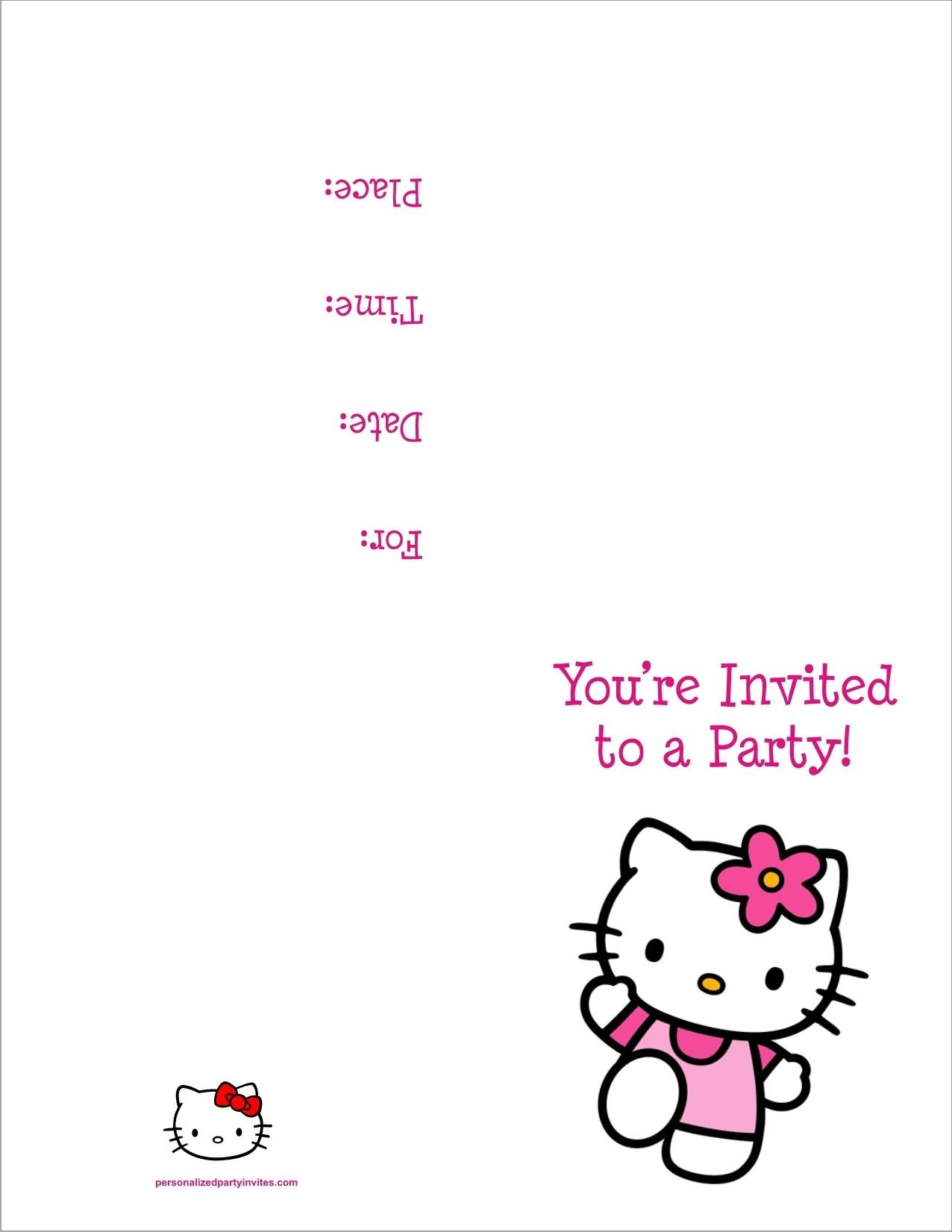 Hello Kitty Free Printable Birthday Party Invitation Personalized - Free Printable Personalized Birthday Invitation Cards