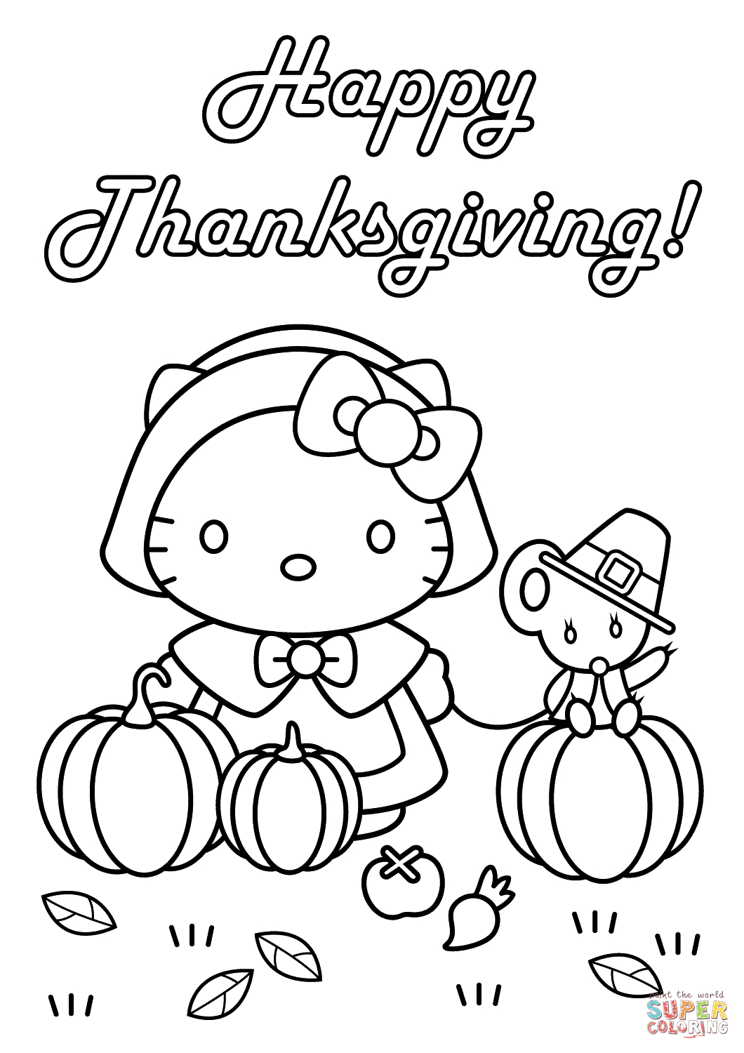 Hello Kitty Happy Thanksgiving Coloring Page | Free Printable - Free Printable Thanksgiving Coloring Pages