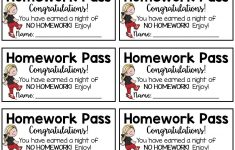 Homework Pass {Freebie} Homework Pass Reward Good For One Night Of – Get Out Of Homework Free Pass Printable