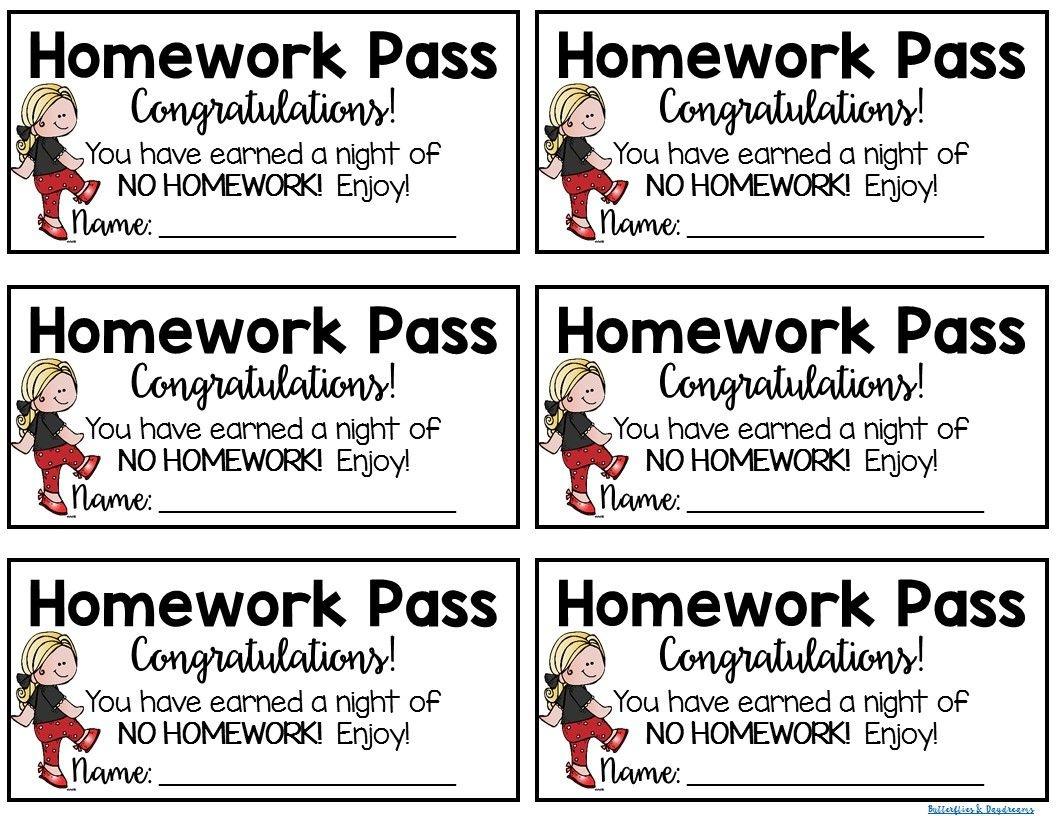 Homework Pass {Freebie} Homework Pass Reward Good For One Night Of - Get Out Of Homework Free Pass Printable