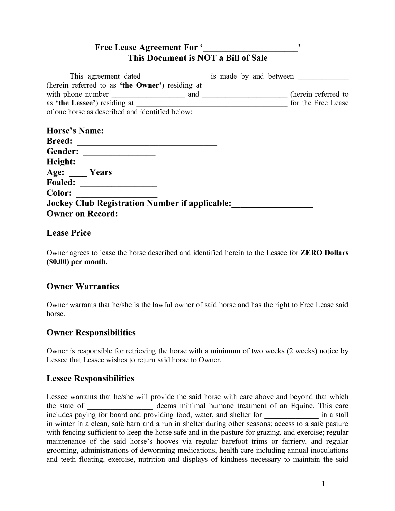 Horse Template Printable | Free Basic Lease Agreement | Country - Free Printable Basic Will