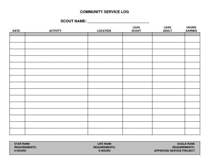 Free Printable Community Service Log Sheet