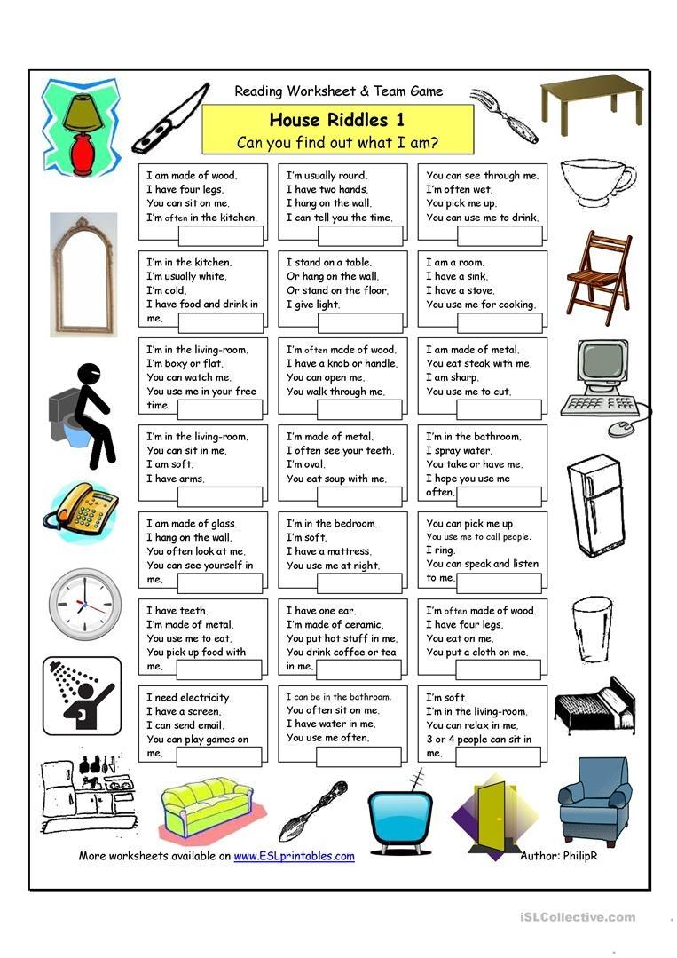House Riddles (1) - Easy Worksheet - Free Esl Printable Worksheets - Free Printable Riddles