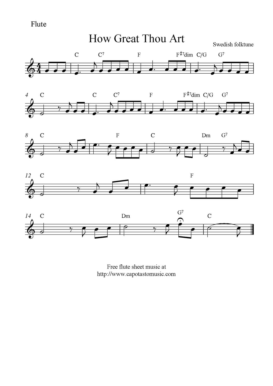 How Great Thou Art, Free Christian Flute Sheet Music Notes - Free Printable Flute Sheet Music