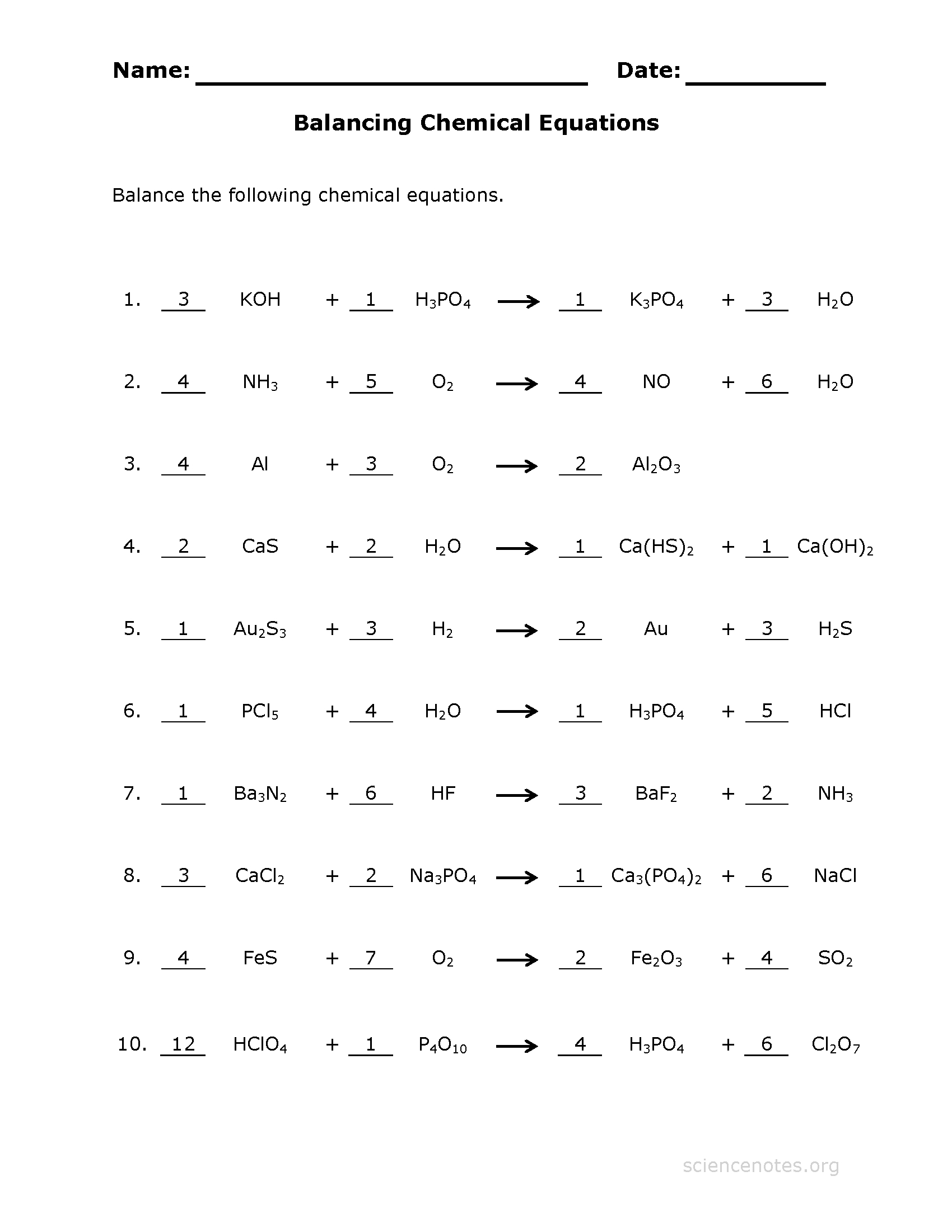 How To Balance Equations - Printable Worksheets - Free Printable Ged Science Worksheets