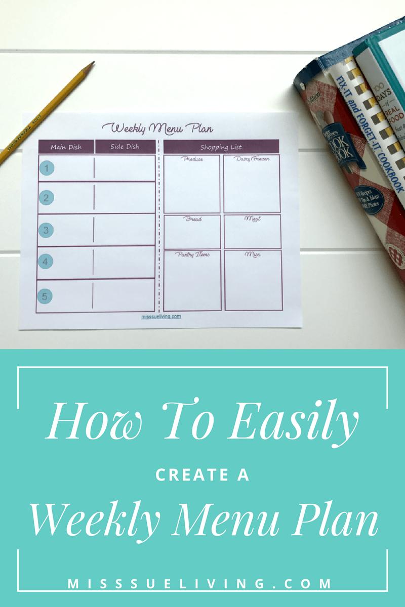 How To Easily Create A Weekly Menu Plan | Best Of Miss Sue Living - Create A Menu Free Printable
