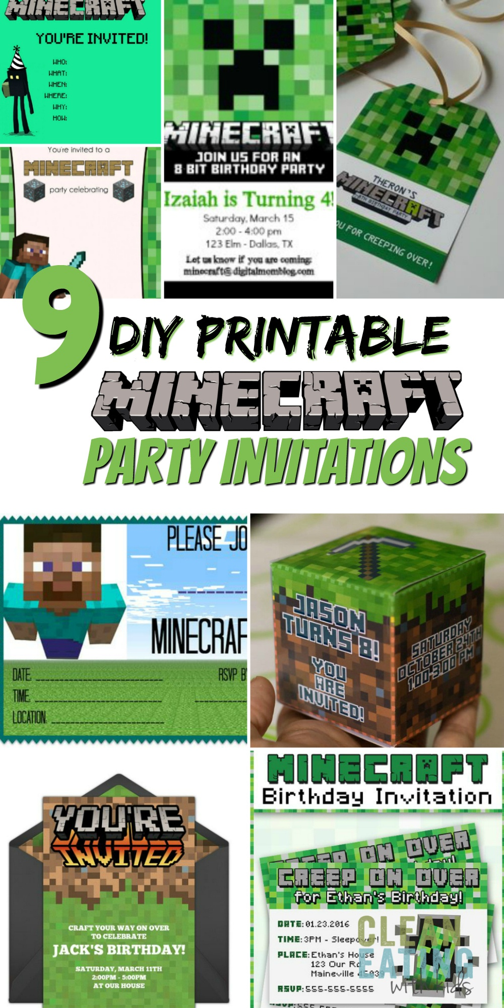 How To Host A (Cheap!) Minecraft Birthday Party (With Printables - Free Printable Minecraft Invitations