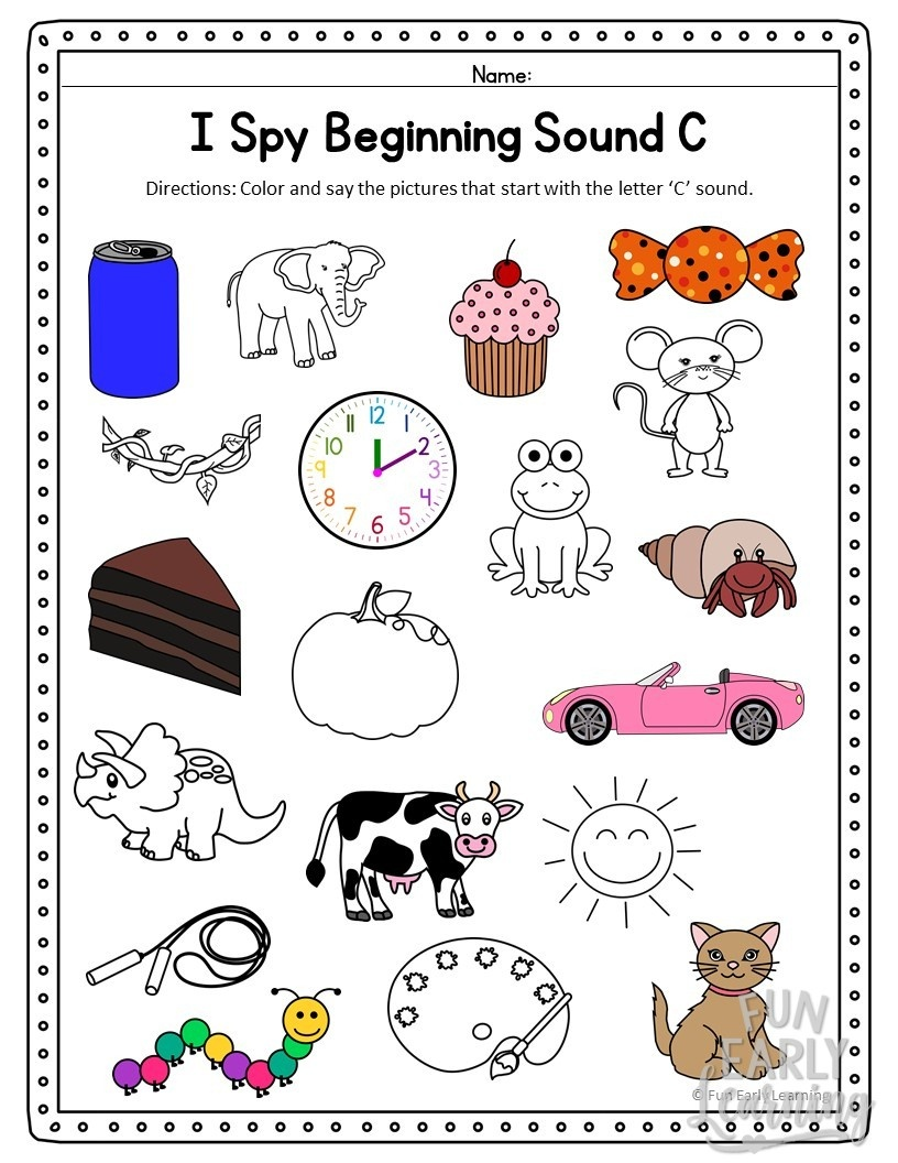 I Spy Beginning Sounds Activity - Free Printable For Speech And Apraxia - Free Printable Early Childhood Activities