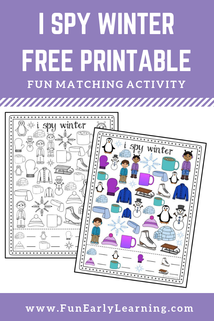 I Spy Winter Free Printable For Matching And Counting   Fun Early - Free Printable Early Childhood Activities