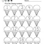 Ice Cream Missing Numbers 1 20 Worksheet For Kindergarten (Free   Free Printable Numbers 1 20 Worksheets