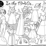 In The 1940S Paper Doll Coloring Page | Paper Doll 7 | Frozen   Free Printable Paper Dolls Black And White