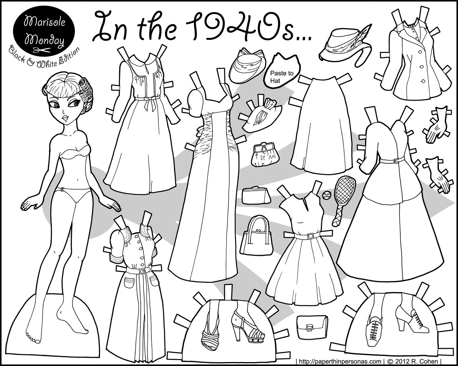 In The 1940S Paper Doll Coloring Page | Paper Doll 7 | Frozen - Free Printable Paper Dolls Black And White