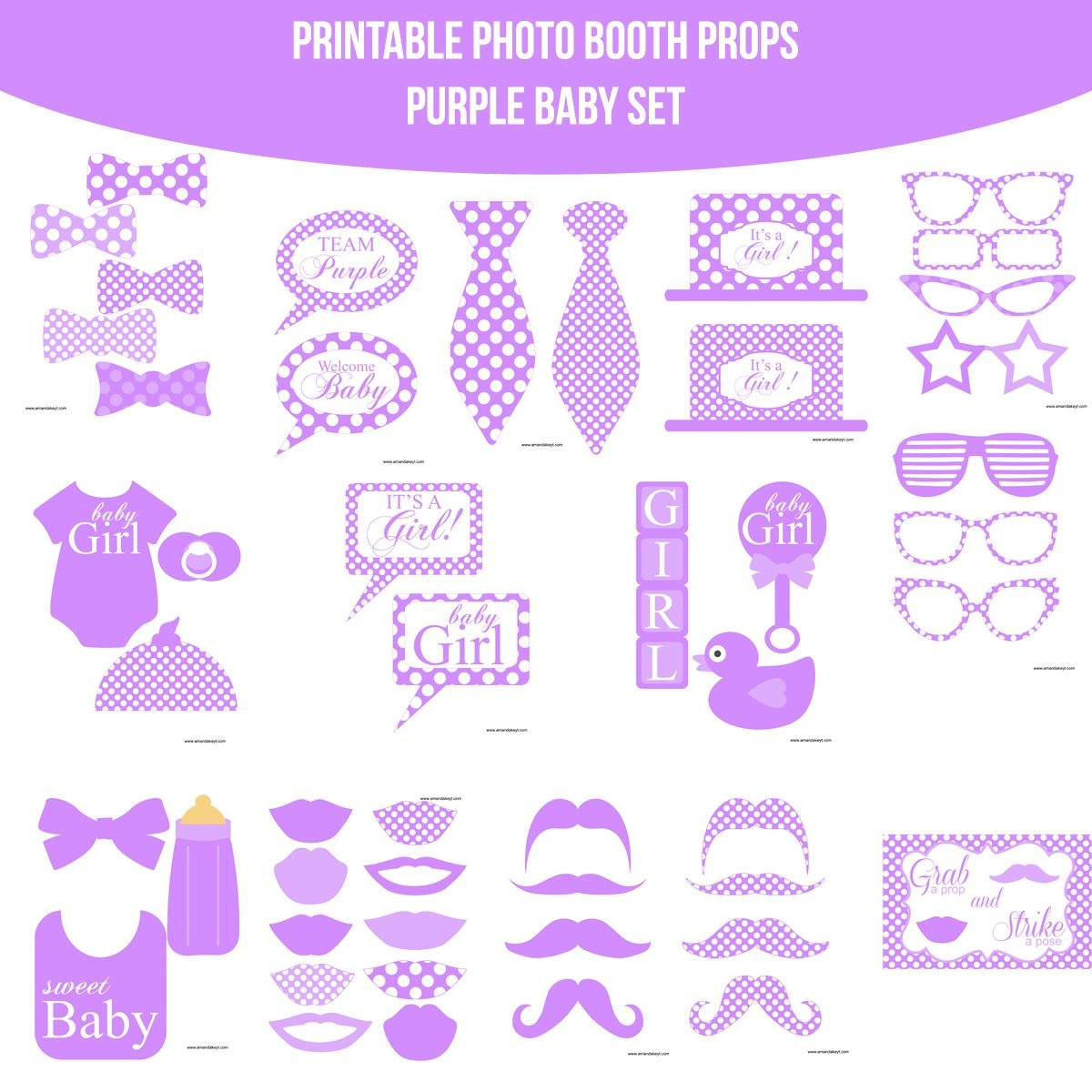 Instant Download Baby Purple Printable Photo Booth Prop Set | Baby - Free Printable Baby Shower Photo Booth Props