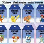 Instant Download Pokemon Thank You Tags Pokemon Birthday | Etsy   Free Printable Pokemon Thank You Tags