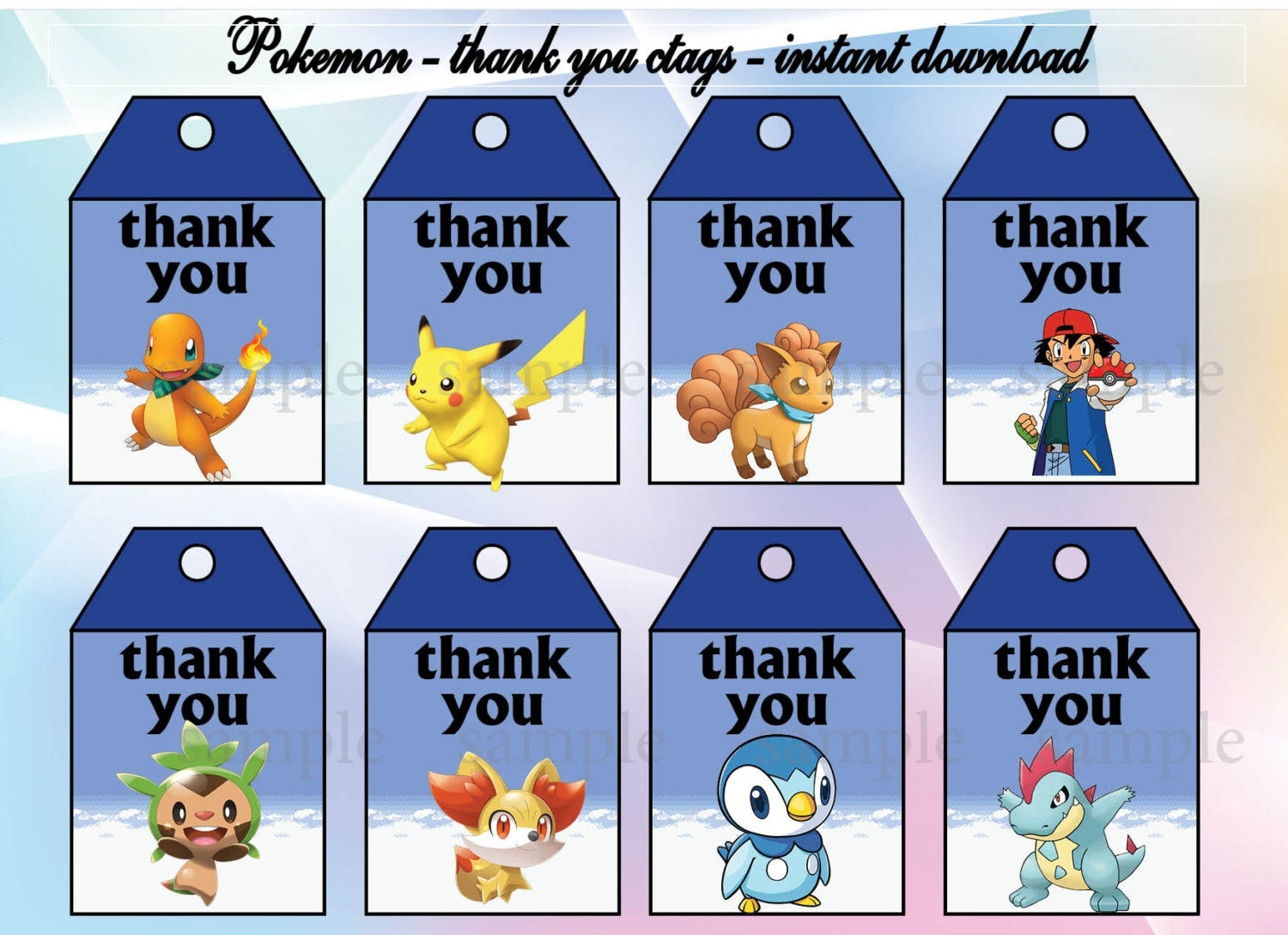 Instant Download Pokemon Thank You Tags Pokemon Birthday | Etsy - Free Printable Pokemon Thank You Tags