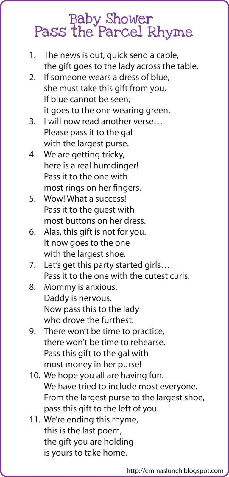 Interesting Game?? Baby Shower Pass The Parcel Rhyme | Fight For - Pass The Prize Baby Shower Game Free Printable