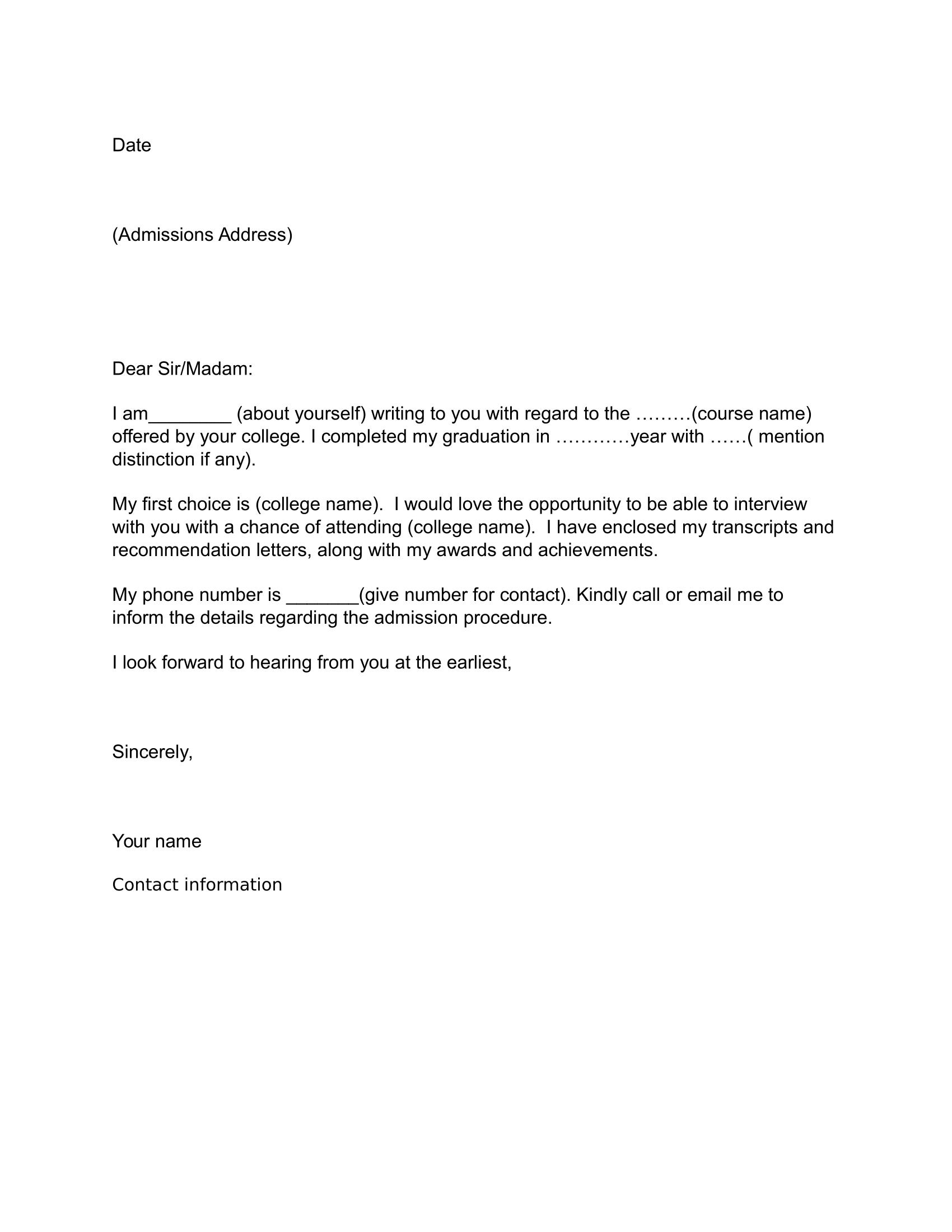 Job Application Letter Sample - Download Free Business Letter - Free Printable Cover Letter Format