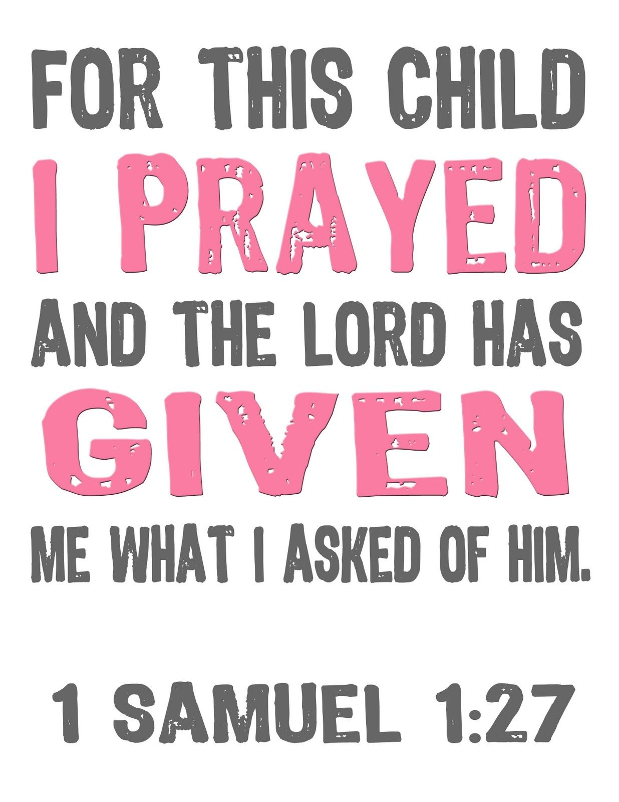 Jon And Bethany: Free Printable: For This Child I Prayed | Bible - For This Child We Have Prayed Free Printable