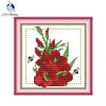 Joy Sunday Floral Style Twelve Months Flower August Design Chart   Free Printable Cross Stitch Patterns Flowers
