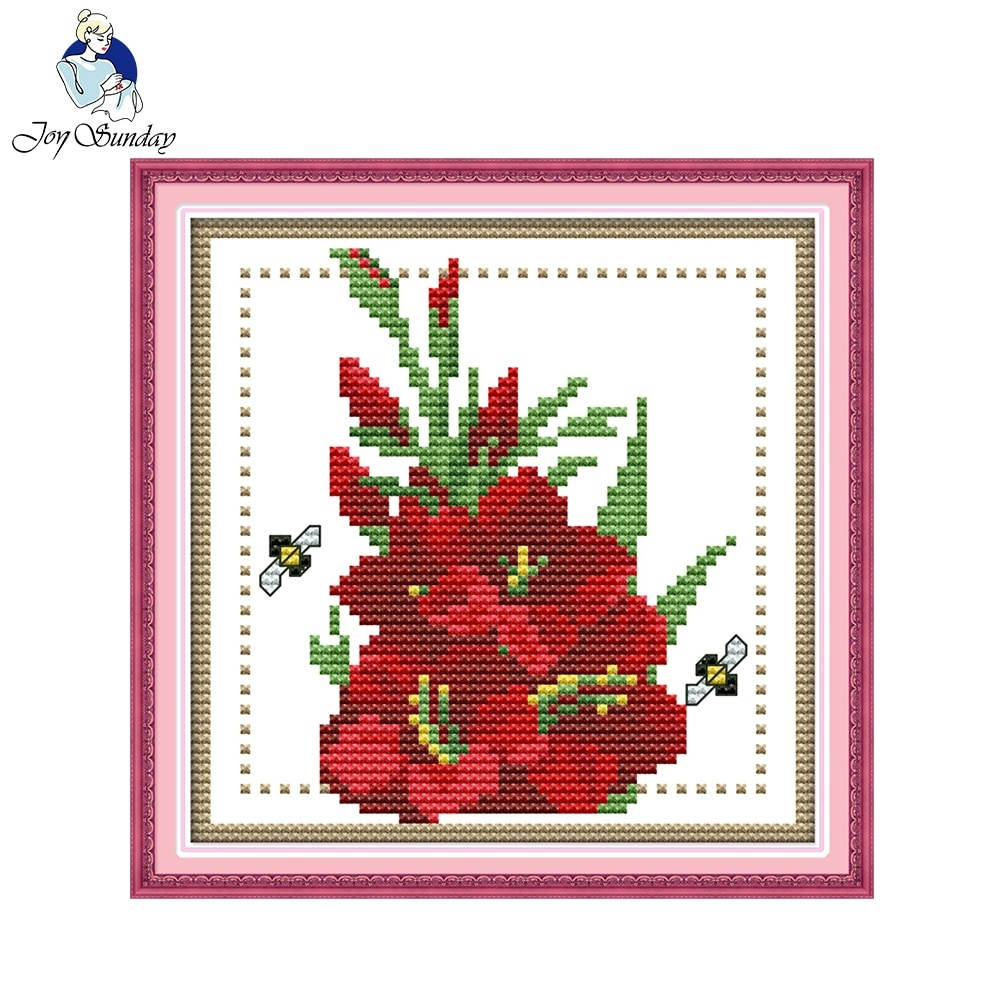 Joy Sunday Floral Style Twelve Months Flower August Design Chart - Free Printable Cross Stitch Patterns Flowers