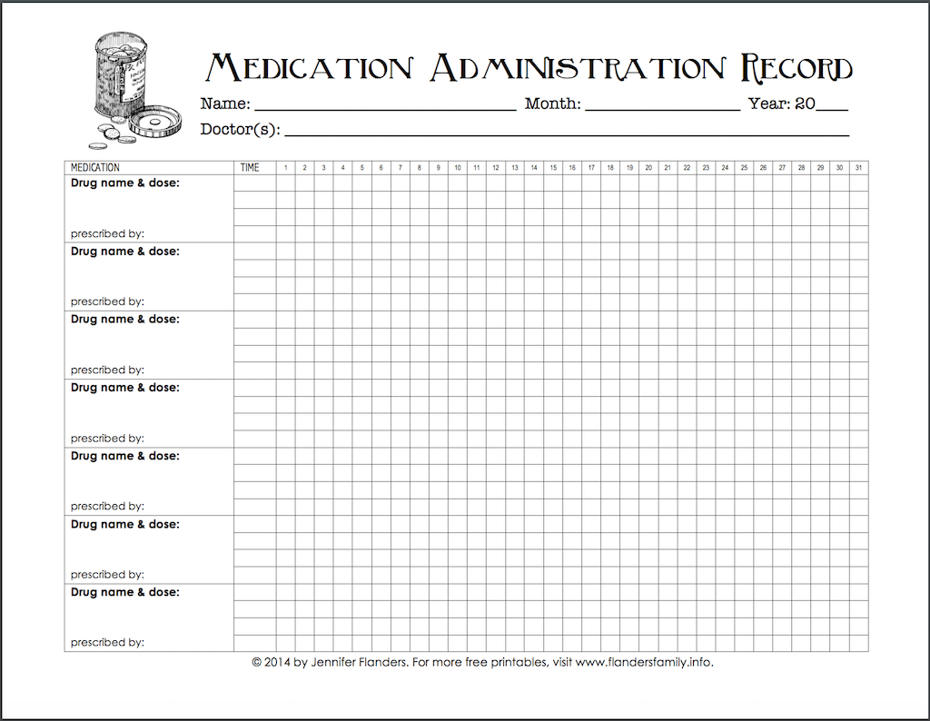 Keeping Track Of Medications {Free Printable Chart} - Flanders - Free Printable Daily Medication Chart