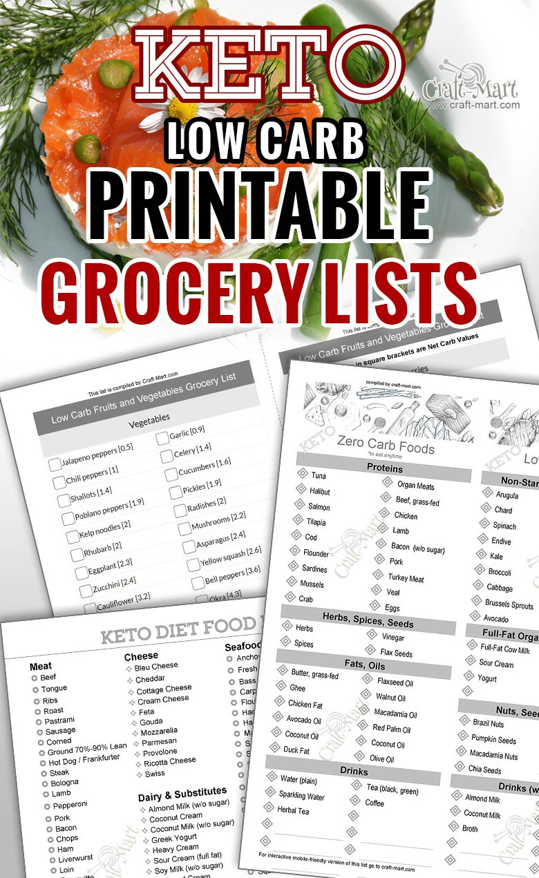 Keto Diet For Beginners With Printable Low Carb Food Lists - Craft-Mart - Free Printable Low Carb Diet Plans