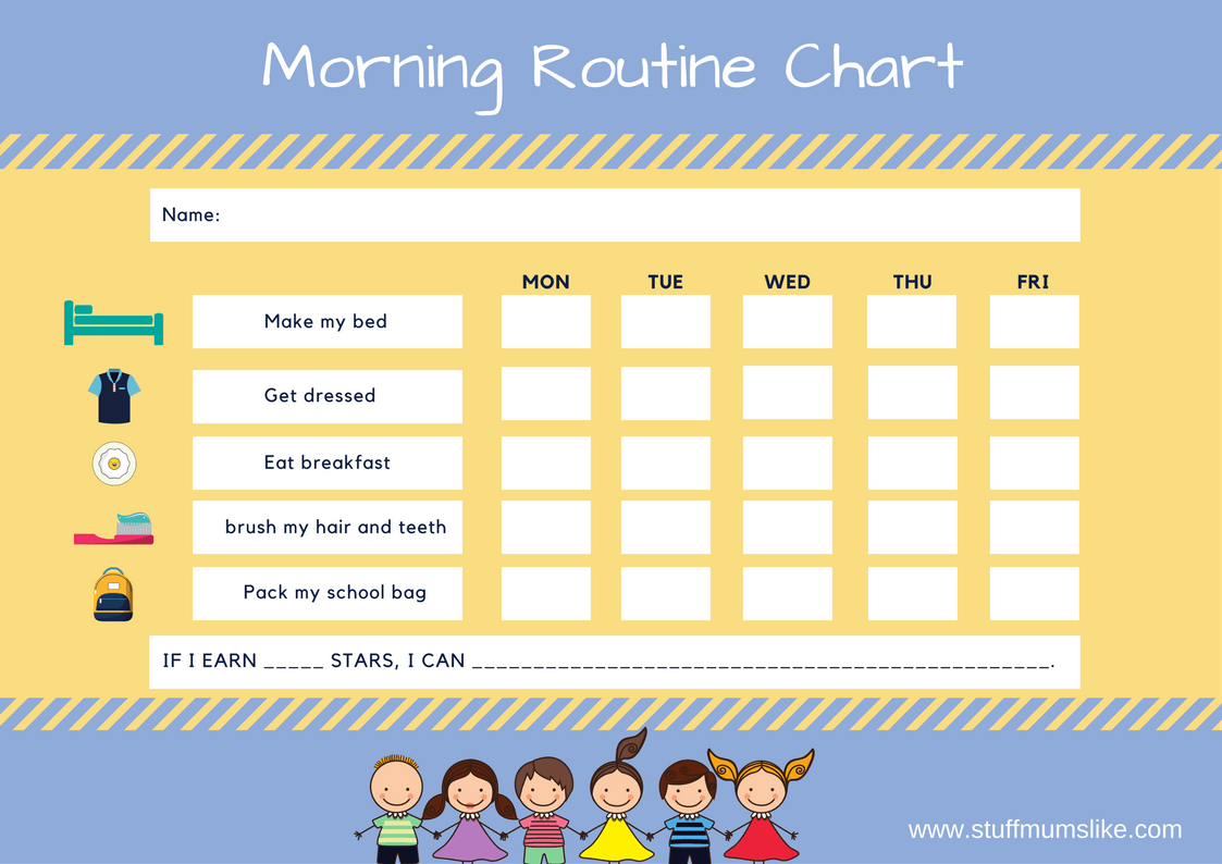 Kids Morning Routine Checklist- With Free Printable - Stuff Mums Like - Free Printable Morning Routine Chart