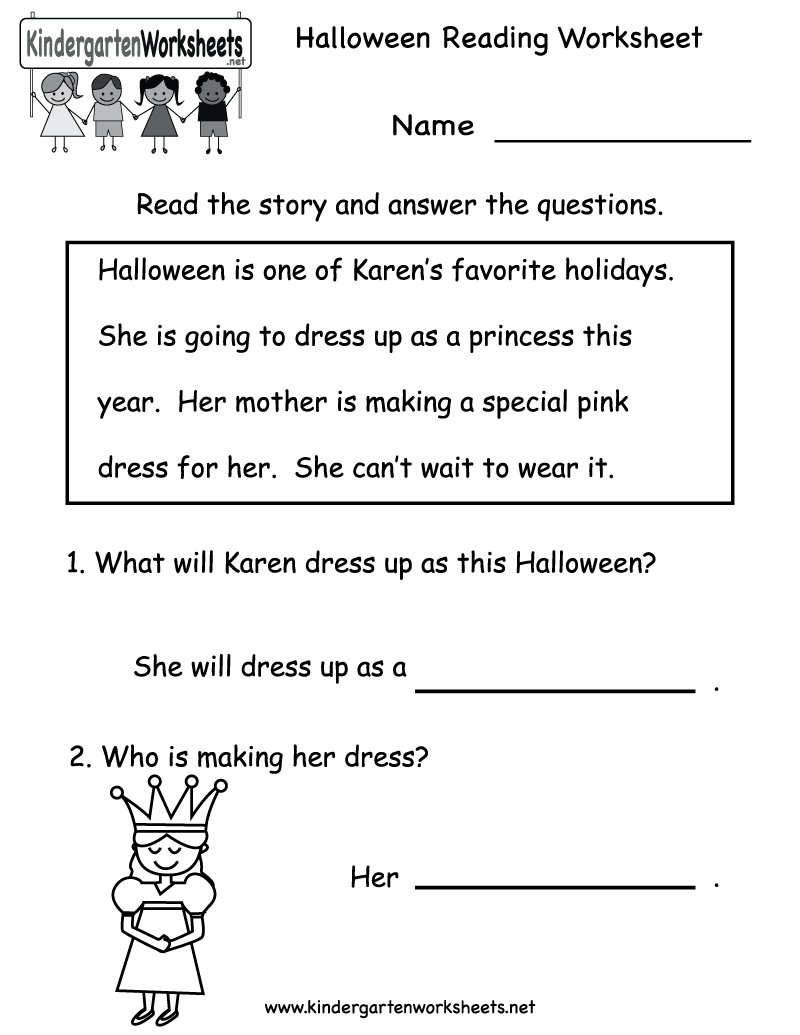 Kindergarten Halloween Reading Worksheet Printable | Free Halloween - Free Printable Reading Activities For Kindergarten