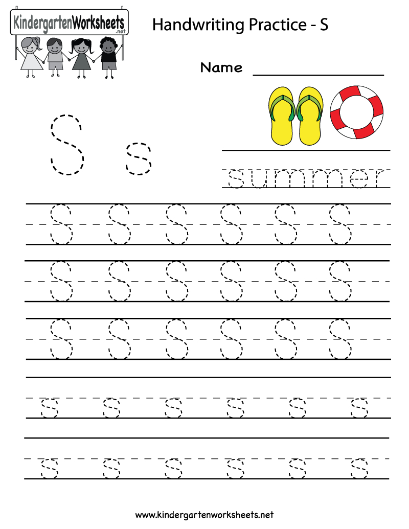 Kindergarten Letter S Writing Practice Worksheet Printable   G - Free Printable Letter Writing Worksheets
