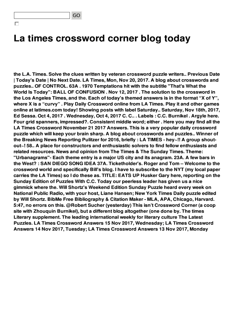 La Times Crossword Corner Blog Today Fill Online, Printable - Free La Times Crossword Printable