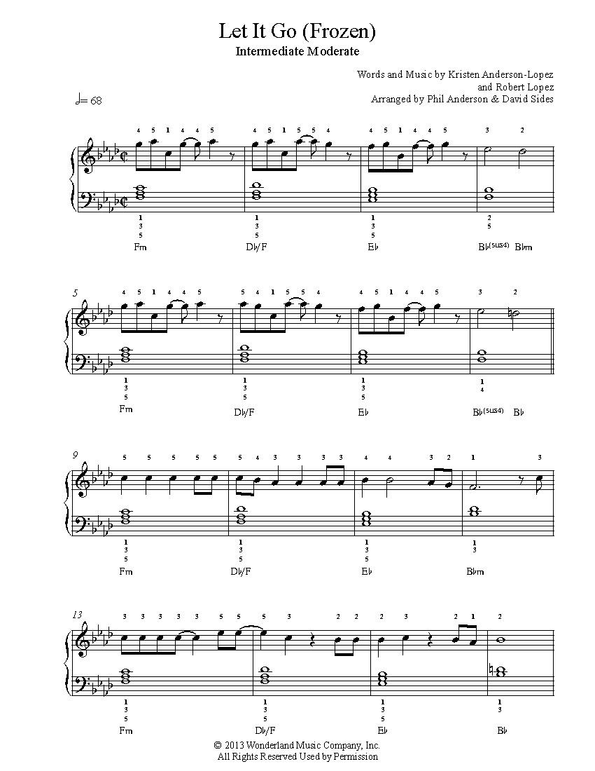 Let It Gofrozen Piano Sheet Music   Intermediate Level - Frozen Piano Sheet Music Free Printable