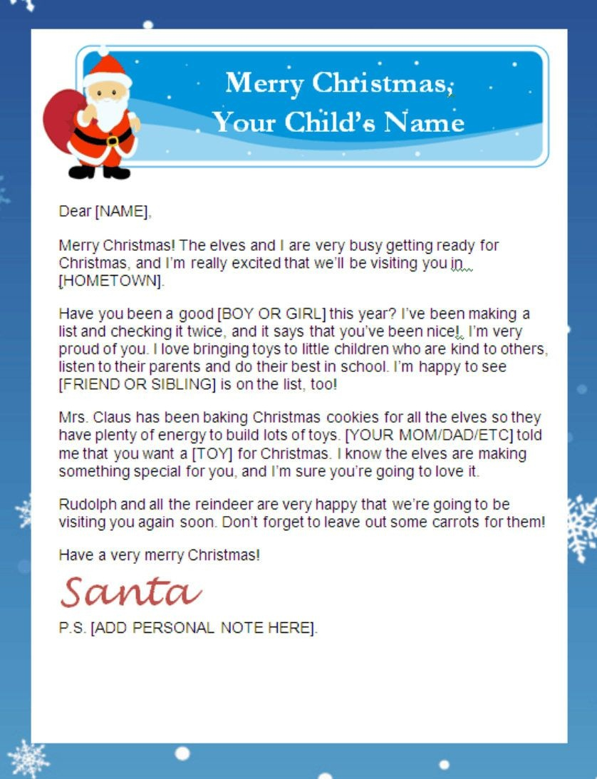 Letter From Santa Templates Free | Printable Santa Letters - Free Personalized Printable Letters From Santa Claus