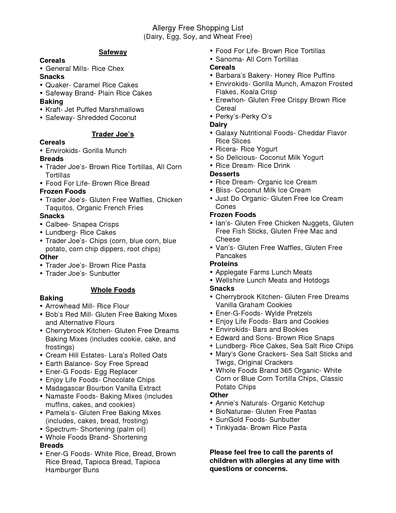 List Of Wheat Foods | Allergy Free Shopping List (Dairy, Egg, Soy - Gluten Free Food List Printable