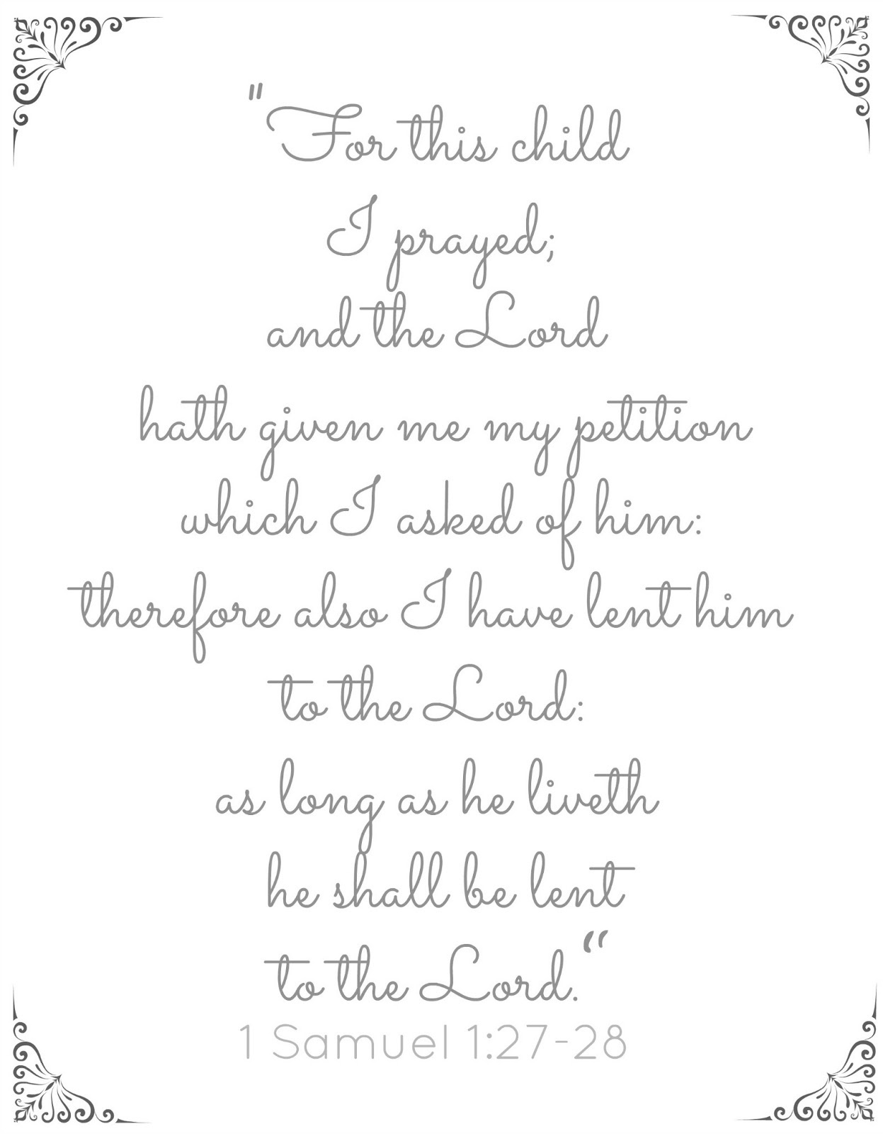 Little House: For This Child I Prayed - Free Printable - For This Child We Have Prayed Free Printable
