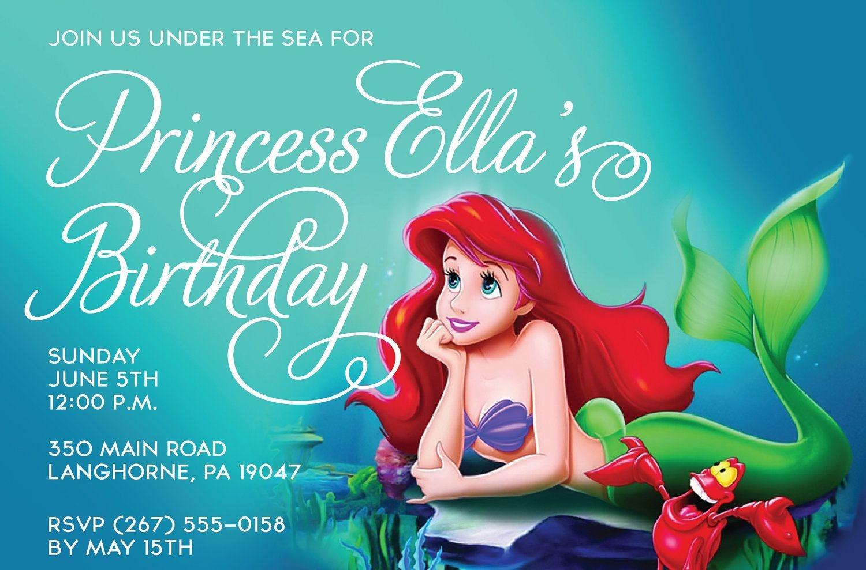Little Mermaid Free Printable Birthday Invitations | The Little - Free Little Mermaid Printable Invitations
