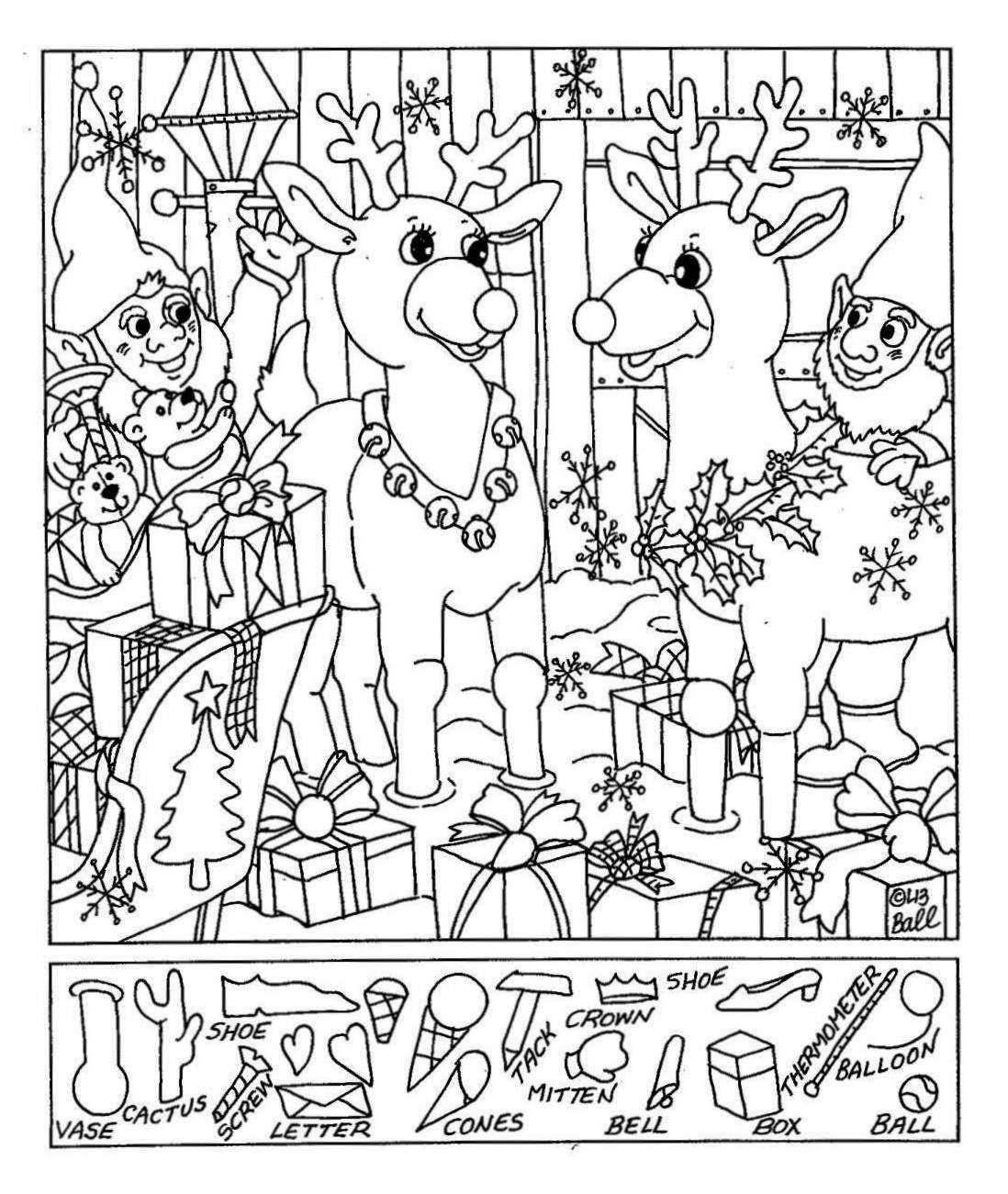 Liz's Hidden Pictures- Reindeer   Christmas   Hidden Pictures - Free Printable Christmas Hidden Picture Games