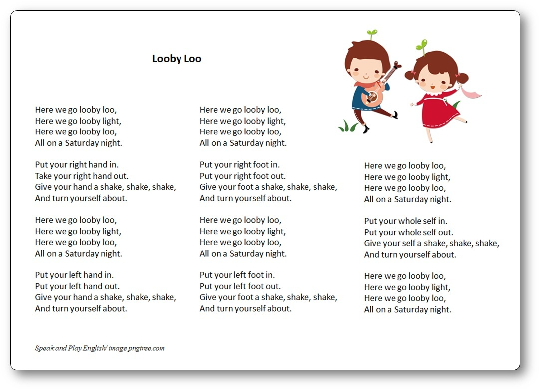 Looby Loo Song – Lyrics In French And In English – Free Printables - Free Printable Song Lyrics