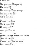 Love Song Lyrics For:and I Love Her The Beatles With Chords.   Free Printable Song Lyrics With Guitar Chords