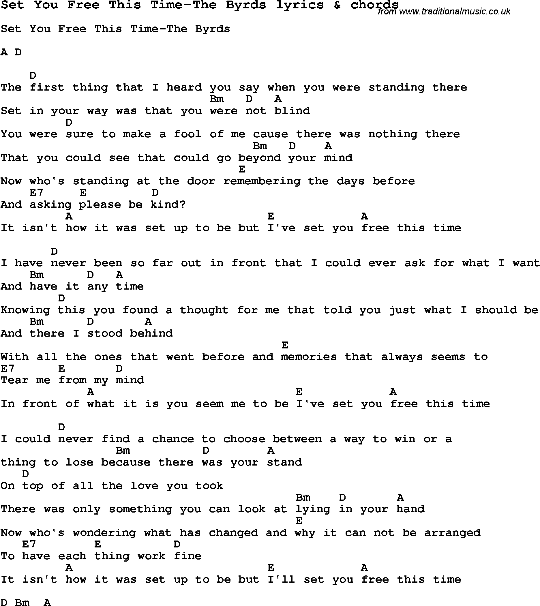 Love Song Lyrics For:set You Free This Time-The Byrds With Chords. - Free Printable Song Lyrics