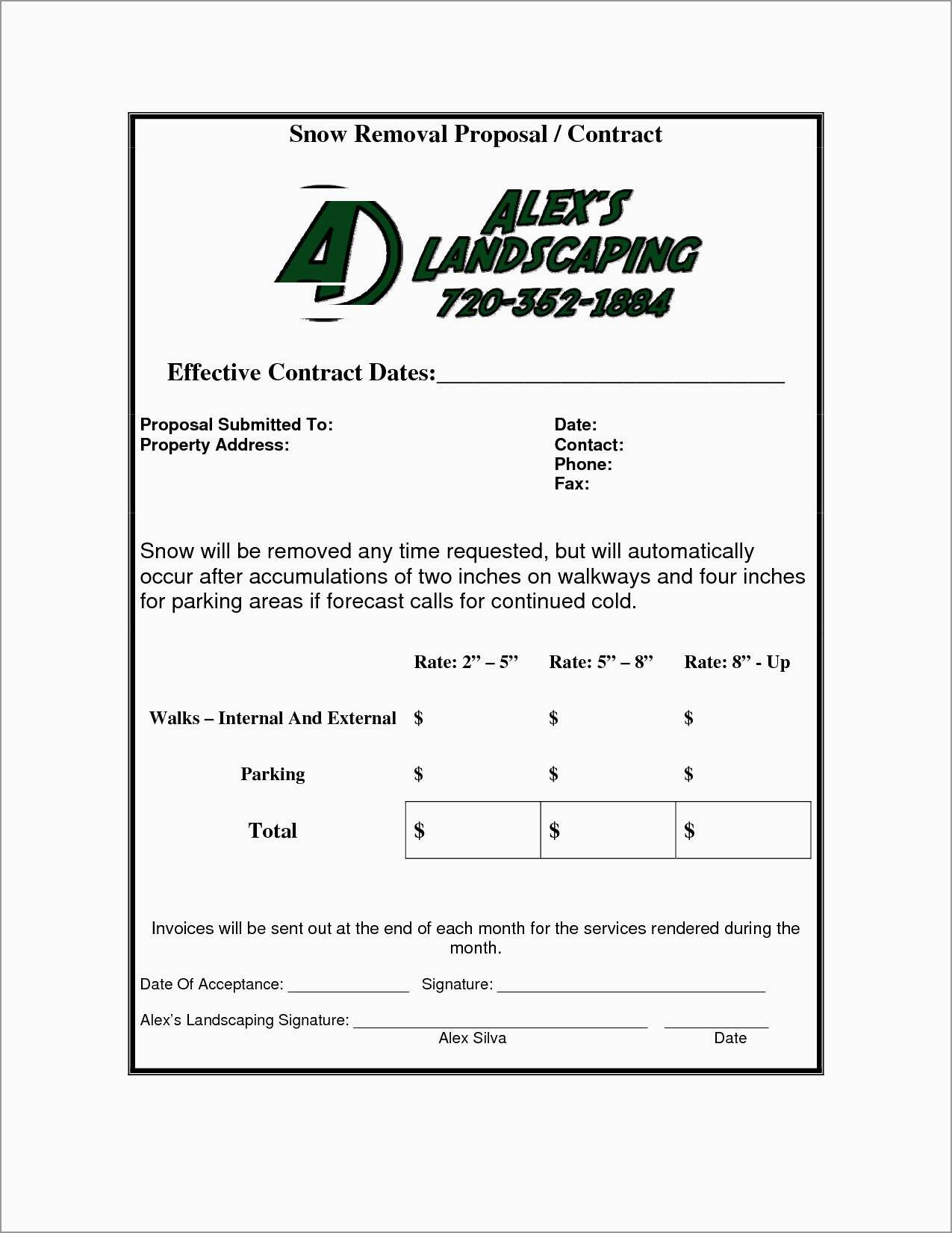 Lovely Free Snow Plowing Contracts Templates | Best Of Template - Free Printable Snow Removal Contract