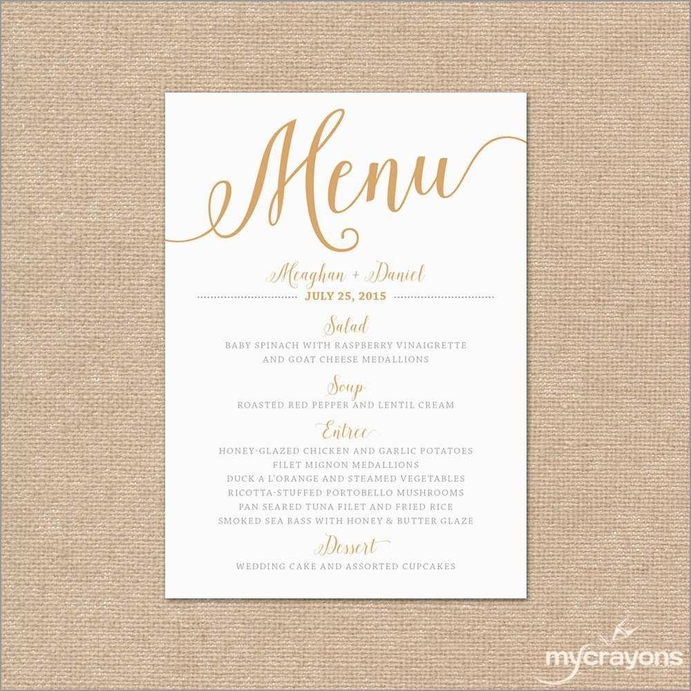 Luxury Free Wedding Menu Template | Best Of Template - Free Printable Wedding Menu Card Templates