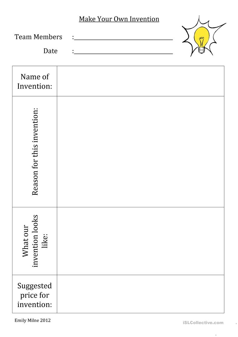 Make Your Own Invention Worksheet - Free Esl Printable Worksheets - Make Your Own Worksheets Free Printable