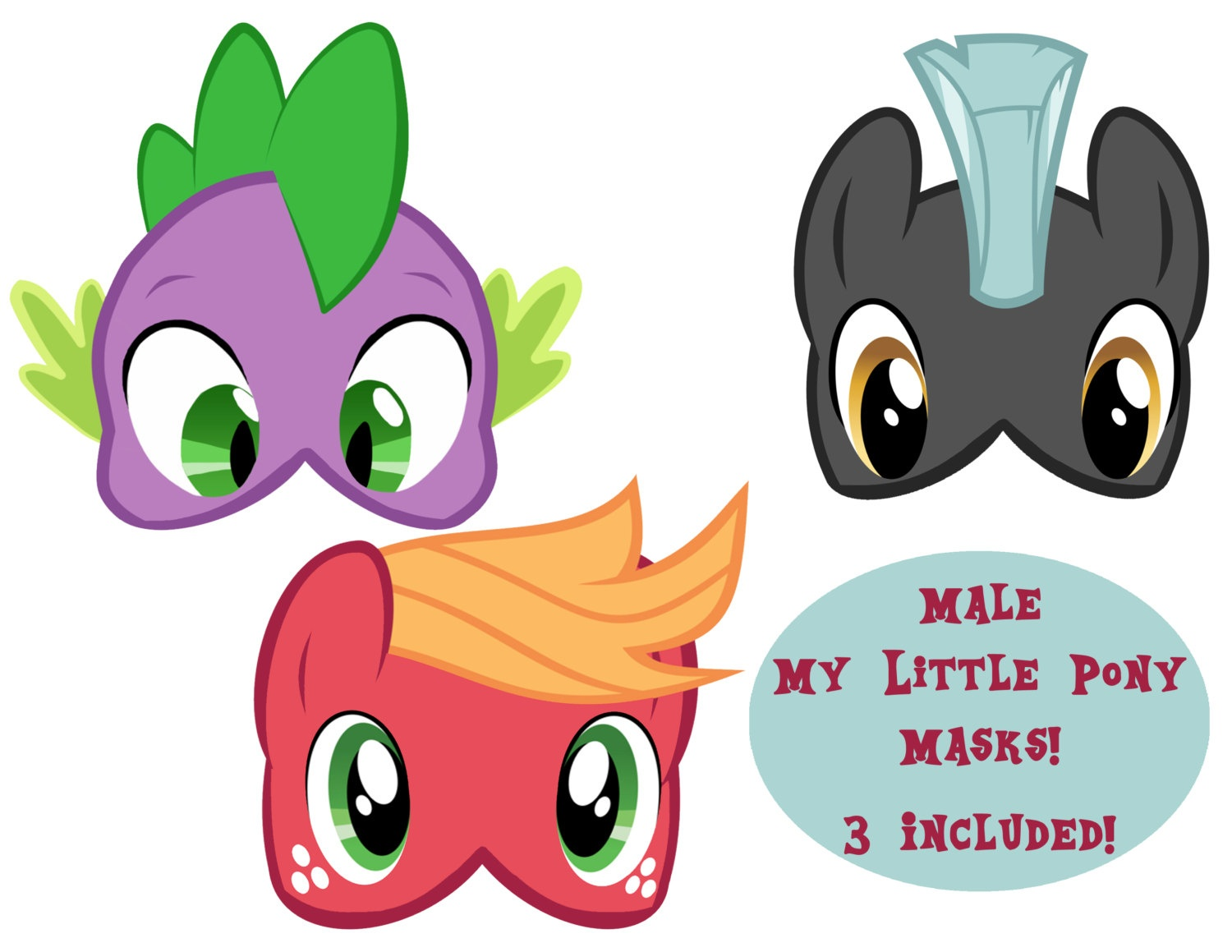 Male My Little Pony Masks 3 | Etsy - Free My Little Pony Printable Masks