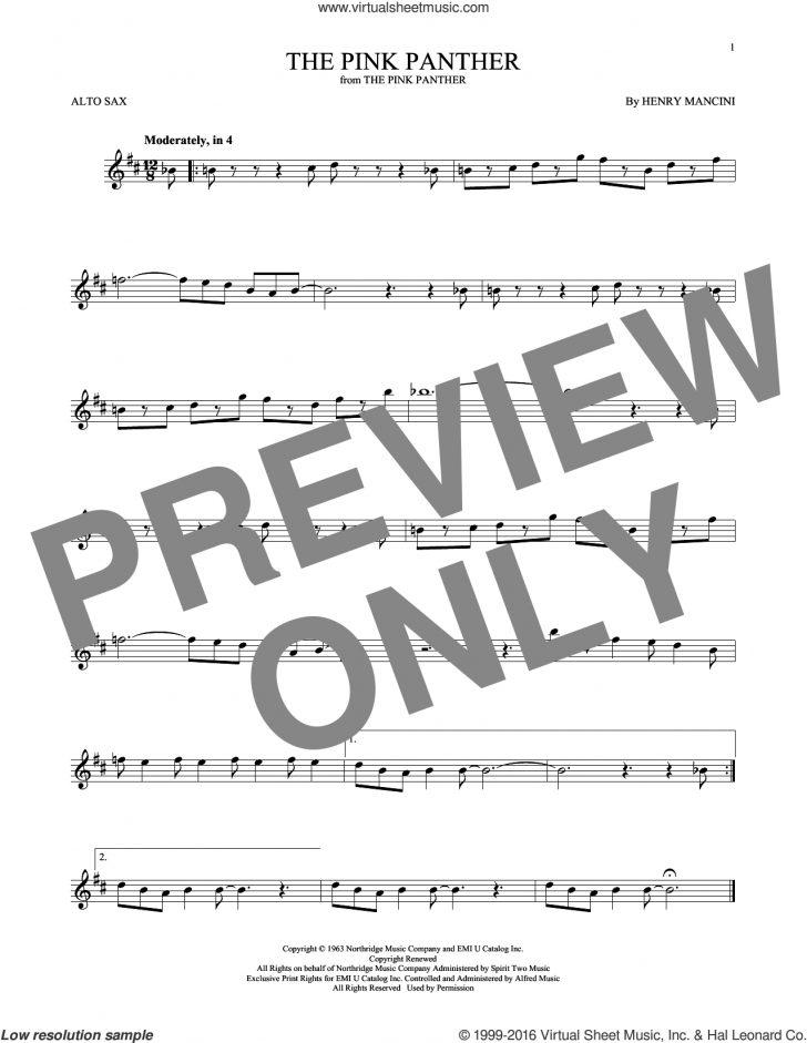Free Printable Alto Saxophone Sheet Music Pink Panther