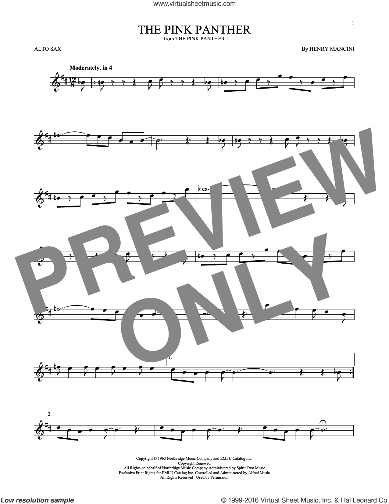 Mancini - The Pink Panther Sheet Music For Alto Saxophone Solo - Free Printable Alto Saxophone Sheet Music Pink Panther